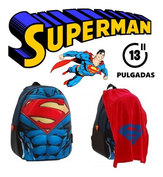 Mochila De Espalda Superman Con Capa 13 Pulgadas Original