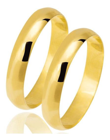 Aliança Anel De Compromisso 4mm Banhado A Ouro 18k Garantia