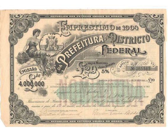 Vendo Apólice Do Distrito Federal De 1904