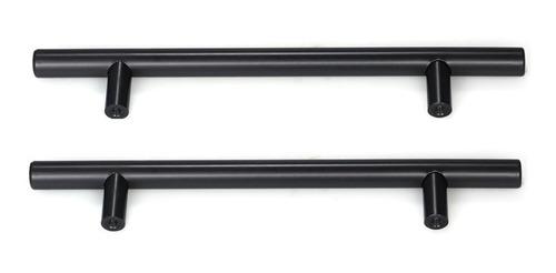 Puxador Móveis Haste Redonda Inox Preto 96mm - 12mm Kit2