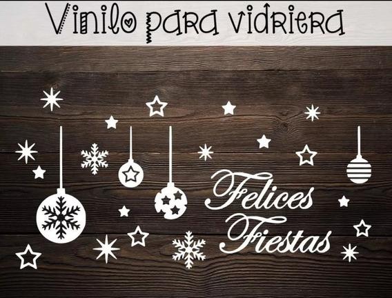 Vinilo Felices Fiestas Para Vidrieras Deco Navidad