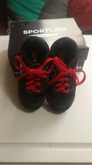 Tenis Sportline Numero 16 Negro Con Rojo