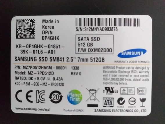 Hd Ssd 512gb Samsung Dell P4ghk Sata
