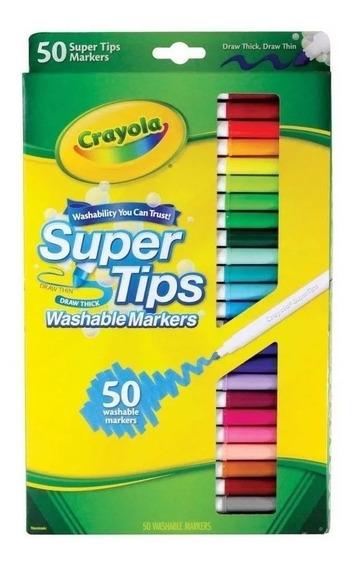 Plumones Marca Crayola Lavables, 50 Colores, 50 Piezas