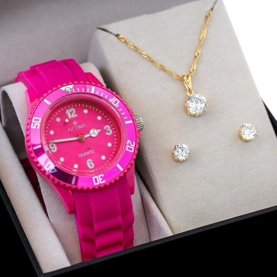 Relógio Feminino Nowa De Borracha Rosa Nw0523k C/ Kit