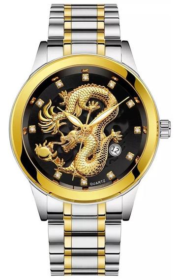 Relógio Prata Dourado Dragão Criativo De Luxo + Frete Gratis