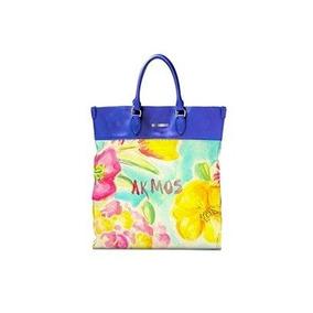 Bolsa Feminina Grande Ak Style Azul Com Estampa