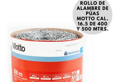 Rollo Alambre De Púa Motto 400 Y 600 Mtrso Cal 16.5