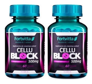 2 - Cellublock Fortvitta (60caps) Anticelulite Emagrecedor