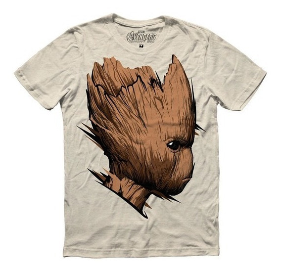 Playera Hombre We Are Groot Marvel Máscara De Látex