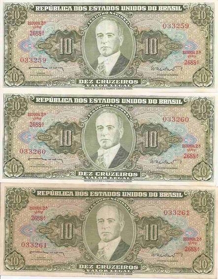Cédula 10 Cruzeiros 2º Estampa - 3 Notas * S * Série 2688a.