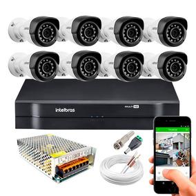 Kit Cftv 8 Cameras Infra 20mts 1220b Full Hd 1080p Intelbras