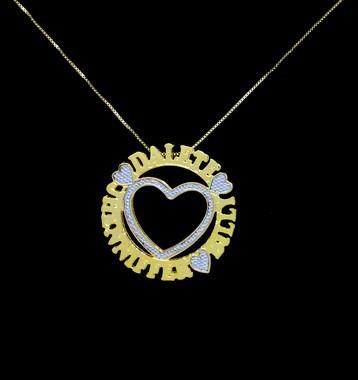Colar Mandala 3 Nomes Coração Central Folheado A Ouro 18k