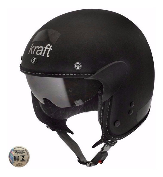 Capacete Custom Kraft Old School - Preto Fosco - Original