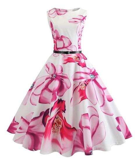 Vestido Sin Mangas Elegante Con Cinturón S-2xl