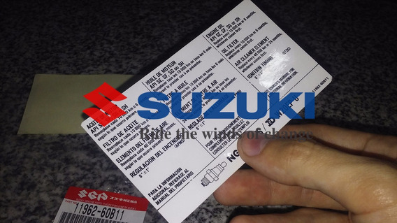 Sticker Calco Informativa Suzuki Swift Bajo Capot