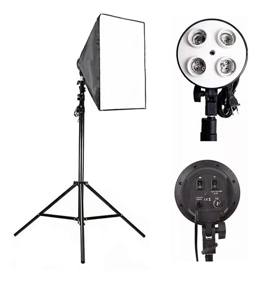 Softbox Kit Fotográfico Socket E27 Quádruplo + Tripé Estúdio
