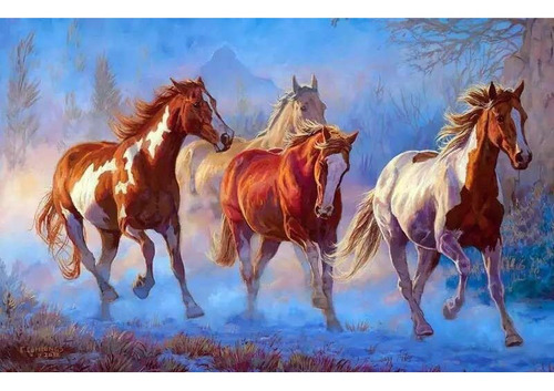Pintura Numerada Cavalos Selvagens_p2