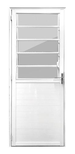 Porta Alumínio 2,10x0,8 Basculante Esquerda Branca Aluvid