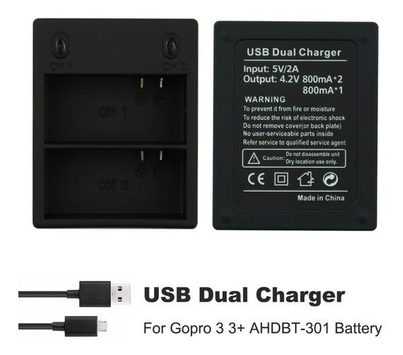 Carregador Duplo Usb Bateria Gopro Hero 3