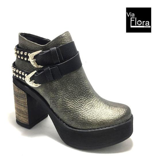 Botineta De Mujer Zapato Taco Madera Borcegos Botita (75/160