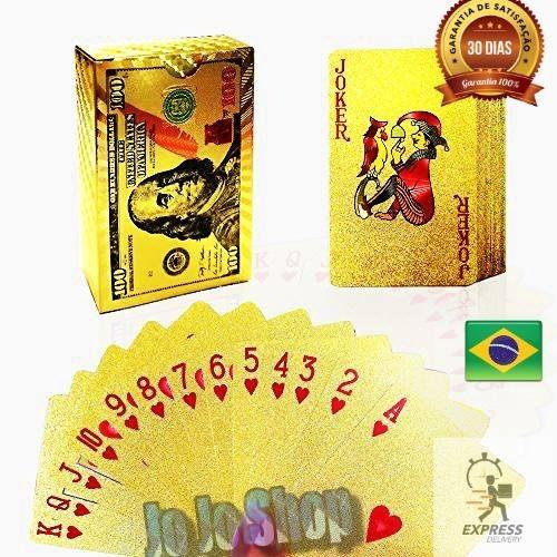 20 Baralho Dourado Ouro 24k Dollar Poker Cartas Jogos P