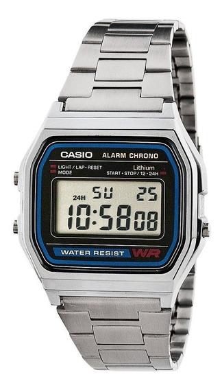 Relógio Casio Unisex A158 Vintage Prata A158wa-1df Original