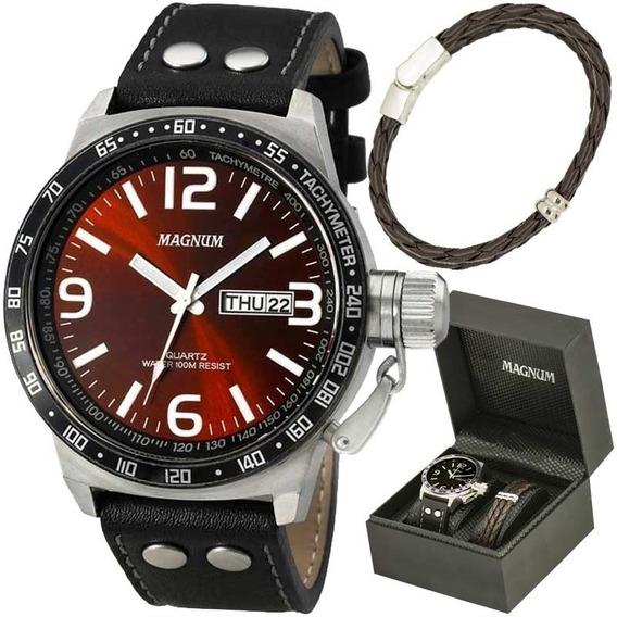 Relógio Magnum Kit Masculino Brinde Pulseira Couro Ma31542z