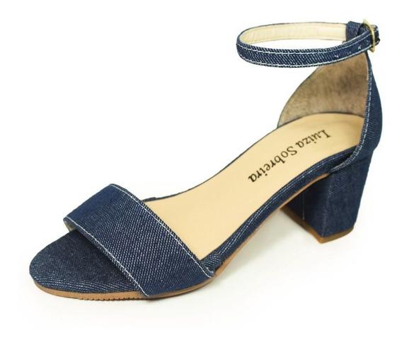 Sandália Salto Grosso Luiza Sobreira Jeans Escuro Mod. 4076