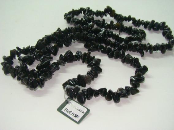 Colar Obsidiana Negra Fio Cascalho Rolado Natural 60cm