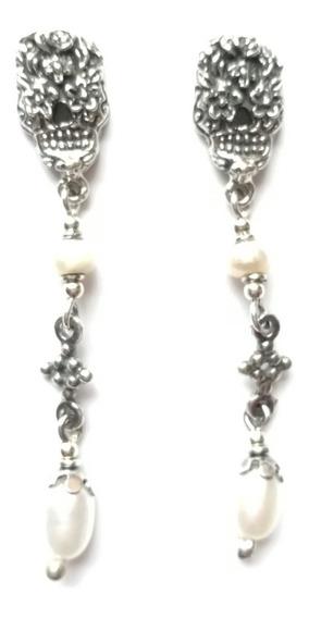 Aretes De Plata Vintage Perla Calaveras Arla-01pr