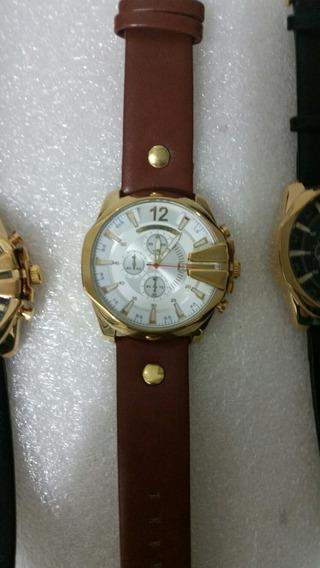 Relógios Curren Social Couro Banho De Dourado