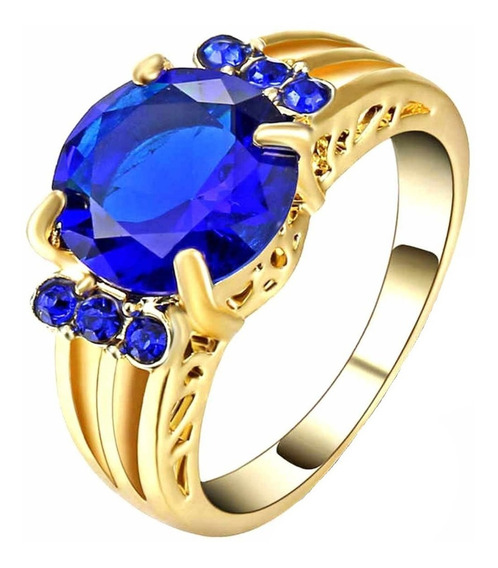Anel Feminino Formatura Azul Safira Pedagogia Ciências 575