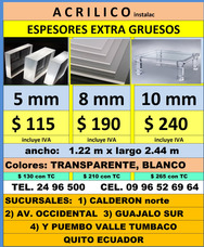 Acrilico Espesores Extragruesos $115 Instalc Policarbonat
