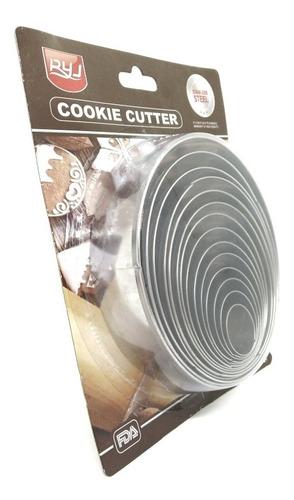 Set De 14 Aros Cortantes Acero Inox Cookies De 2,5 A 11,5 Cm