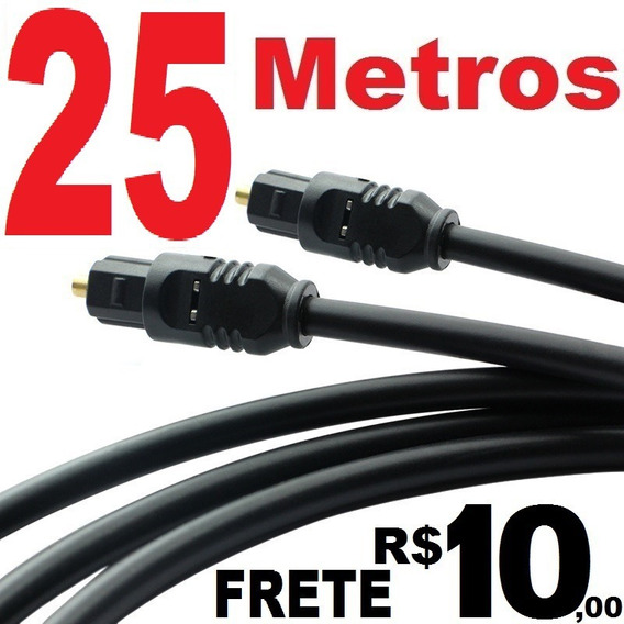 Cabo De Áudio Óptico Digital 25 Metros 25 Mts Toslink (gold)