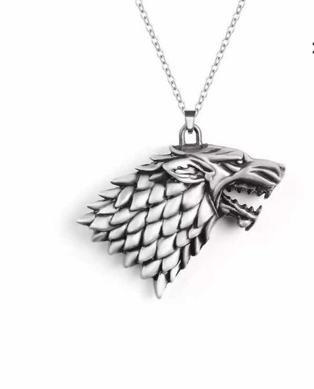 Colar / Pingente Lobo 3d Da Casa Stark Game Of Thrones