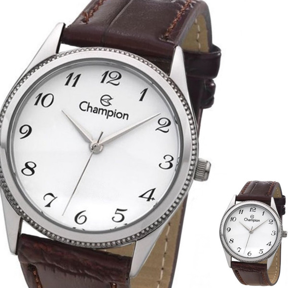 Relógio Feminino Masculino Champion Prateado Couro Ch22171q
