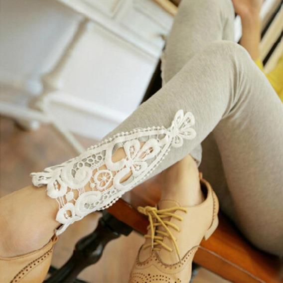 De Color Sólido De Encaje De Crochet Leggings Pantalones De