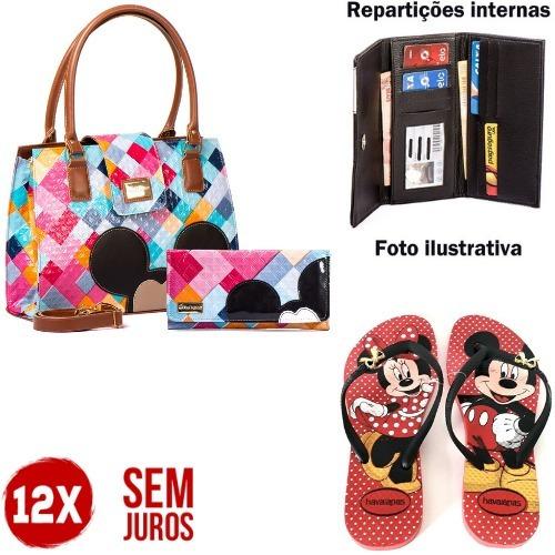 Bolsa Feminina Mickey Minnie Carteira Chinelo - Promoção