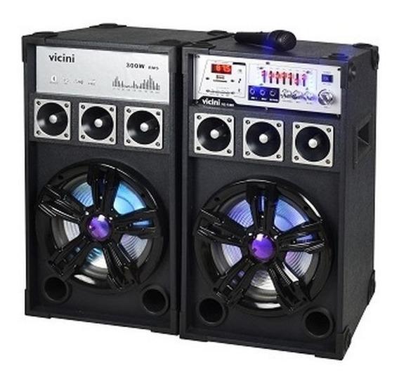 Caixa De Som Vicini Amplificada Com Bluetooth 300w Usb Led