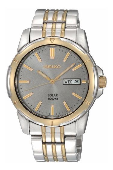 Reloj Seiko Análogo Acero Inoxidable Gris Dorado Sne098