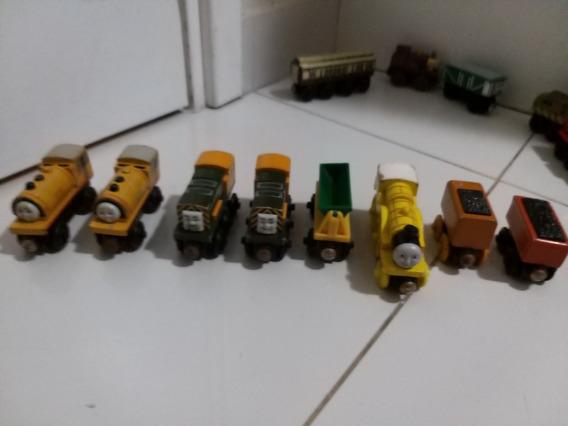 Thomas E Seus Amigos De Madeira 5 Trens E 3 Vagões. Raro!!!