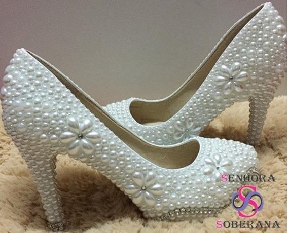 Sapato Meia Pata Branco Flor Perolas Com Strass Luxo(noivas)