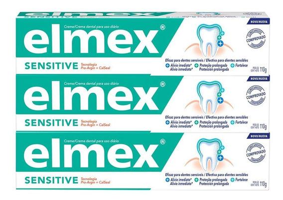 Kit C/ 3 Cremes Dental Elmex Sensitive 110g