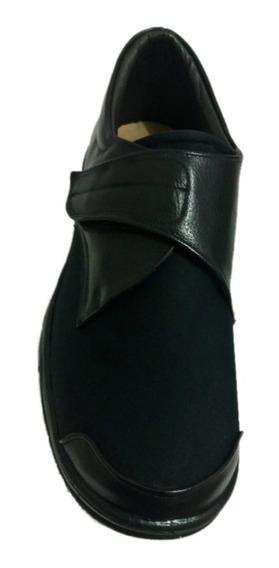 Sapato Ortopédico De Couro E Neoprene Para Pés Deformados