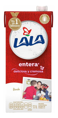 Imagen 1 de 2 de Leche Lala Entera 1 Lt Con Vitamia A Y D