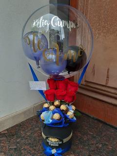 Regalo Cumpleaños Para Hombre Globo Burbuja Rosa Chocolates