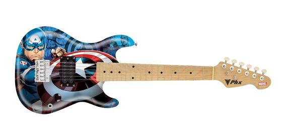Guitarra Infantil Kids Marvel Capitão América Gmc-k2 Phx