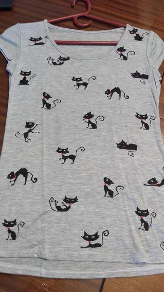 Remera Gris Cats En Dos Colores T S/m